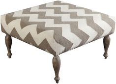 Our Frontier Chevron Ottoman Taupe & Ivory provides plush comfort and sophisticated style. This accent piece features a chic chevron pattern with neutral coloring creating a look that is both transitional and trend worthy in your home decor.