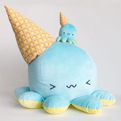 Giant Melty~ Super soft and great for hugging! Meet the octopus disguised as a dropped ice-cream cone!
