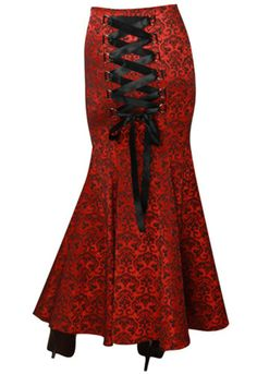 Long RED / BLACK Jacquard Gothic Fishtail Corset Skirt