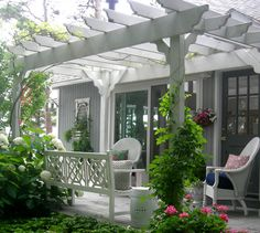 Michigan patio with pergola and lovely vines.