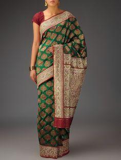 Buy Green Maroon Silk Zari Sequins Handwoven Saree by Bandhej Winds of the West Traditional Asavali and Banarasi Brocade Sarees Dupattas Online at Jaypore.com