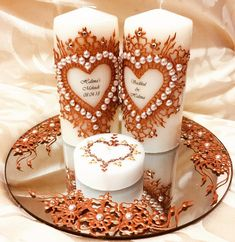 Includes pillar 2 candles jumbo tea light and a mirror plate beautifully hand decorated with bronze henna and embellished with pearls and diamonds. Personalised with any names/message. DM to order Groomsmen Gift Bags, Groomsman Gifts, Mehndi, Wedding Henna, Wedding Bride, Henna Candles, Candle Art, Hanging Hearts, Bronze