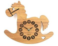 Wooden Nursery Clock, Modern Decor for Kids' Rooms, Bamboo Rocking Horse Clock, Home Decor, Baby Shower Gift