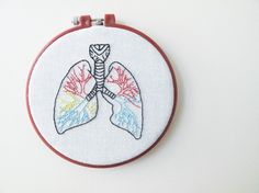 Human Lungs Embroidery Wall Art - Anatomically Correct via Etsy