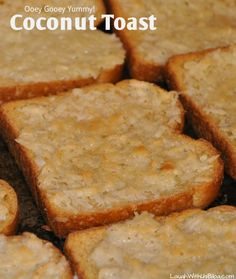 "Pinner said ""Coconut Toast! Oh my goodness you HAVE to try this. Tastes like Coconut Pie and so easy the kids can make it! Love this recipe! Breakfast Desayunos, Breakfast Dishes, Breakfast Recipes, Hawaiian Breakfast, Breakfast Pastries, Delicious Desserts, Yummy Food, Toasted Coconut, Coconut Sugar"