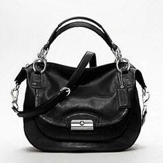 Coach Kristin Large Round Leather Satchel Metallic BLACK Hobo Bag 19295 NEW #Coach #Satchel