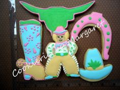 Cowgirl Cookies - The Art of the Cookie Cowgirl Cookies, Cookie Crush, Iced Cookies, Cookie Bars, Cookie Decorating, Brownies, Crushes, Sweets, Desserts