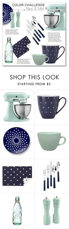 """""""Navy & Mint Kitchen Accessories"""" by kellylynne68 ❤ liked on Polyvore featuring interior, interiors, interior design, home, home decor, interior decorating, KitchenAid, Kate Spade, B by Brandie and Ralph Lauren"""
