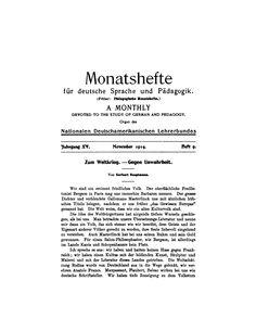 Hauptmann, Gerhart: Zum Weltkrieg : gegen Unwahrheit. // In: Monatshefte für deutsche Sprache und Pädagogik. - 15 (1914),9, S. 305-309