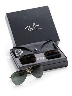 Ray Ban  Interchangeable Lens Aviator Sunglasses