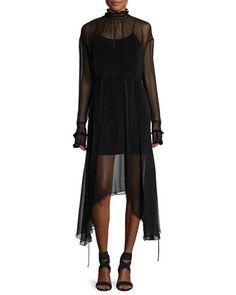 Aviles High-Neck Sheer Handkerchief-Hem Midi Dress, Black by Magda Butrym at Neiman Marcus.