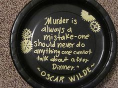 DIY Steampunk paper plate using gold sharpie for a new years eve steampunk mystery dinner