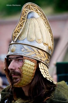 Dacian helmet dating from the second century C.E., reproduced from a relief of the base of Trajan's column.
