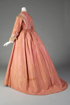 Salmon taffeta dress with fringe, American, ca. 1865