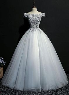 Cheap Enticing Prom Dresses Long Gray Tulle Lace Off Shoulder Long Prom Dress, Gray Evening Dress Grey Party Dresses, Grey Evening Dresses, Party Gowns, Gold Bridesmaid Dresses, Prom Dresses With Sleeves, Pretty Dresses, Beautiful Dresses, Off Shoulder Evening Dress, Elegantes Outfit