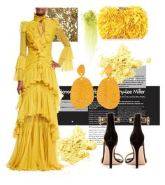 """""""Yellow"""" by chicbluemarty ❤ liked on Polyvore featuring NARS Cosmetics, Burberry, Corto Moltedo, Roberto Cavalli and Gianvito Rossi"""