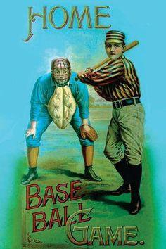 Buyenlarge 'Home Baseball Game' Vintage Advertisement Size: Play Baseball Games, Baseball Buckets, Baseball Signs, Baseball Art, Giants Baseball, Baseball Field, Baseball Movies, Baseball Display, Baseball Live
