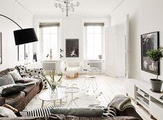 White walls, brown c