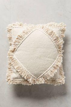 Slide View: 1: Ivory Fringe Pillow
