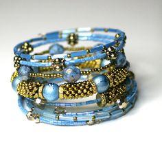 Beaded Bracelet. Memory Wire Bracelet.  by RavensNestScarfJewel