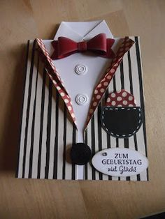 Huhu Ihr Lieben,   heute zeige ich euch eine Hemd-Sakko-Karte.....irgendwie schaffe ich nicht etwas österliches....   Diese Karten-Art hat e...