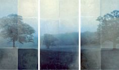 "Am I Blue: Tom Brydelsky  36"" x 62"" triptych  encaustic on archival print mounted on wood  2010"