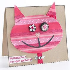 Button Kid Crafts Easy Button Crafts for Kids 18 Use extra buttons to entertain kids with fun and easy projects.Easy Button Crafts for Kids 18 Use extra buttons to entertain kids with fun and easy projects. Girl Birthday Cards, Cat Birthday, Handmade Birthday Cards, Button Crafts For Kids, Easy Crafts For Kids, Kid Crafts, Cat Cards, Kids Cards, Button Cards