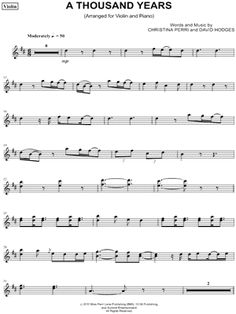 "Christina Perri ""A Thousand Years - Violin"" Sheet Music (Violin Solo) - Download & Print"