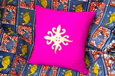 African cushion cover with Adinkra symbols