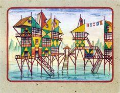 Proyecto Fachada Delta (#2), 1954 by Xul Solar. Surrealism. cityscape
