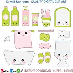 Bathroom Digital Clip Art Kawaii Cute