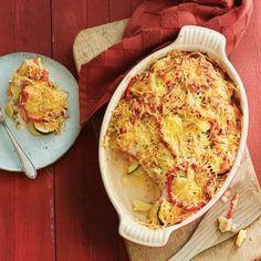 Aardappel-baconschotel met courgette