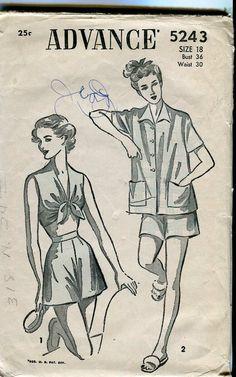 Advance 5243 Vintage 50s Pajama Pattern by bellaloona on Etsy, $20.00