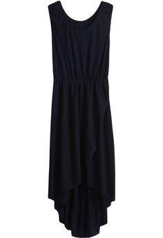 Vestido asimétrico plisado sin mangas-Negro EUR16.61 www.sheinside.com