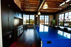 Blue quartz countertop in a modern loft.