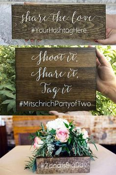 You will want to skip DIY and instead buy these unique rustic wooden hashtag wedding signs. Hang or lean at the reception entrance table. Or purchase several and use them as part of your rustic centerpieces. Lean the signs against your floral arrangements Cute Wedding Ideas, Wedding With Kids, Plan Your Wedding, Budget Wedding, Diy Wedding, Wedding Planning, Table Wedding, Wedding Crafts, Green Wedding
