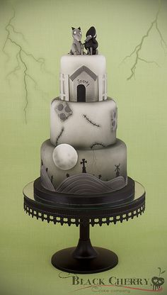 Frankenweenie Cake, via Flickr. - love how identifyibly TIM Burton this is!