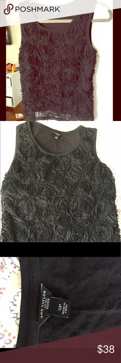 Fancy black top Gorgeous top from Ann Taylor! Beautiful rose design - only worn once so in great shape Ann Taylor Tops Blouses