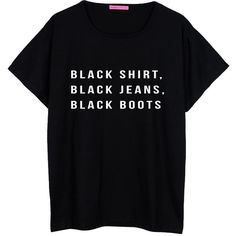 all black jeans boots OVERSIZED T SHIRT boyfriend womens ladies girl... (€20) ❤ liked on Polyvore featuring tops, t-shirts, shirts, tees, loose t shirt, boyfriend tee, punk t shirts, boyfriend t shirt and black t shirt