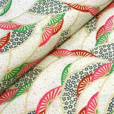 Tissu+de+coton+motifs+japonais+écrus,+rouges,+roses,+verts+et+or