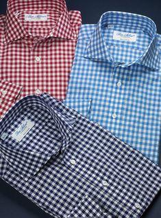 Gingham Twill Cutaway Collar Shirts