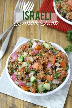 Israeli Quinoa Salad - a quick and easy lunch recipe that gets better as you let it sit! Lots of fresh veggies and whole grains for a healthy meal.