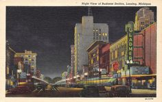 Lansing Michigan Street Scene Night Gladmer Theatre Music House 1944 Postcard   eBay