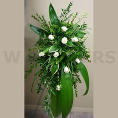 I love the texture of all the different greens. W Flowers product: Funeral Flowers Spray with White Roses. Funeral Floral Arrangements, Church Flower Arrangements, Church Flowers, Funeral Flowers, New Baby Flowers, Wedding Flowers, Casket Flowers, Get Well Flowers, Buy Flowers Online
