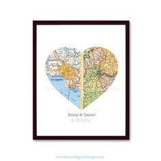 Personalized Heart Map Print Custom Wedding por DreamDigitalDesigns