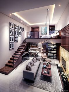 Small Homes That Use Lofts To Gain More Floor Space Loft living by the Urbanist Lab Small Living Rooms, Home And Living, Modern Living, Luxury Living, Living Spaces, Family Rooms, Tiny Living, Modern Interior Design, Interior Architecture