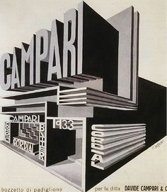 Who is the author of the work:Fortunato Depero Name of the work: Campari Pavilion When was the work Between 1925 and Fortunato Depero churned out a huge number of advertisement sketches for Campari Illustration Inspiration, Typography Inspiration, Graphic Design Illustration, Typography Design, Design Inspiration, Vintage Advertisements, Vintage Ads, Vintage Designs, Vintage Graphic