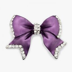 Crystal Vintage Bow Brooch Pin Silver Plated