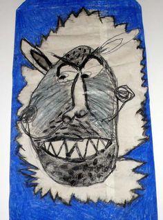 Animale (carbone e pastello a olio su sacco di carta)