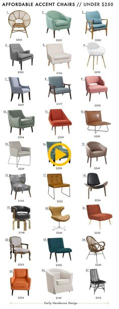 Affordable Accent Chair Roundup We have been shopping our bums off for affordable accent chairs lately for clients. What is an accent chair, you ask? basically just a fancy word for living ro Apartment Interior, Living Room Interior, Apartment Living, Living Room Decor, Living Rooms, Apartment Design, Bedroom Furniture, Home Furniture, Furniture Design
